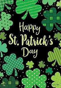 RLDQ St. Patrick's Day Garden Flag Burlap Double Sided Clover House Flags Shamrock Indoor Home Flag Outdoor Three Leaves Decor Flag for Celebration 12