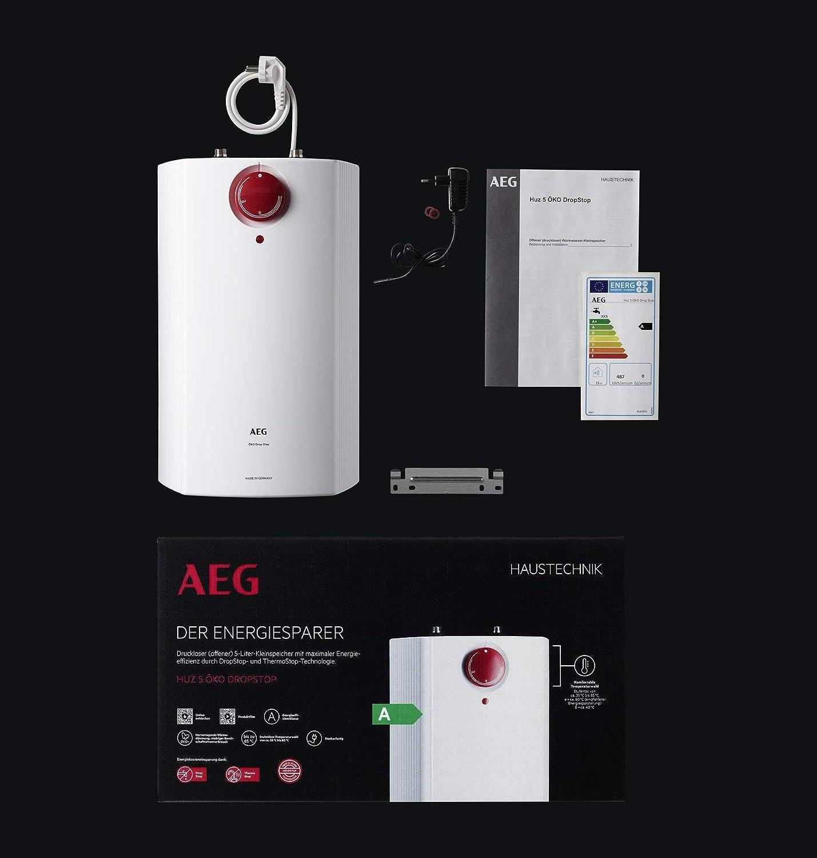 AEG offene Drucklos elektrischer Kleinspeicher 5 Liter HUZ Drop Stop Boiler