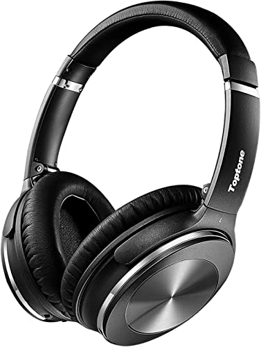 Active Noise Cancelling Headphones, Toptone Foldable Lightweight Bluetooth Headphones Over Ear with Mic Hi-Fi Sound Deep Bass, Comfortable Protein Earpads ANC Wireless Headphones, Small