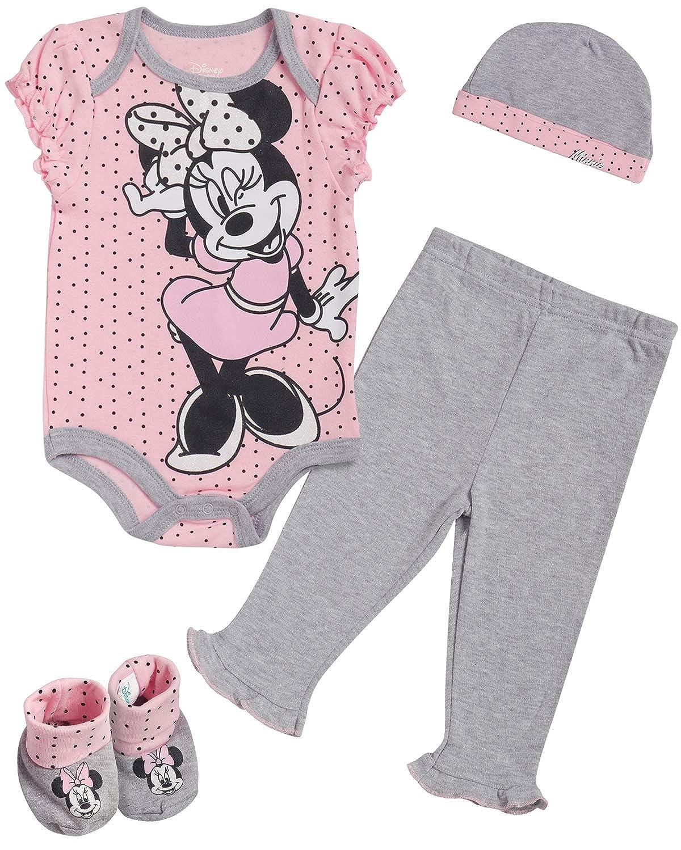 Disney Baby Girls Newborn Minnie Mouse 4-Piece Bodysuit Pants Layette Set with Booties