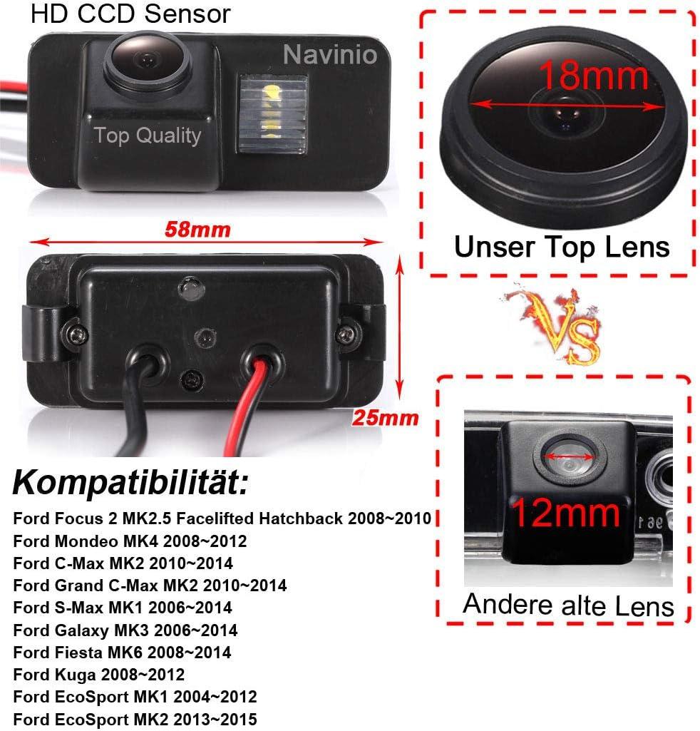 170/° Reverse Parking Camera for Ford Focus 2 Mondeo MK4 C-MAX MK2 Grand C-MAX MK2 S-MAX Galaxy Fiesta MK6 Kuga Ecosport Navinio Super Starlight pro HD Waterproof Vehicle Car Rear View Backup Camera