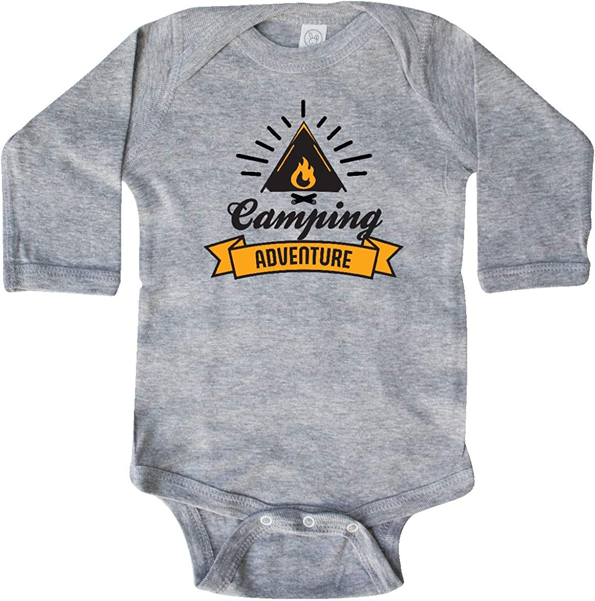 inktastic Camping Adventure with Tent Fire and Banner Long Sleeve Creeper