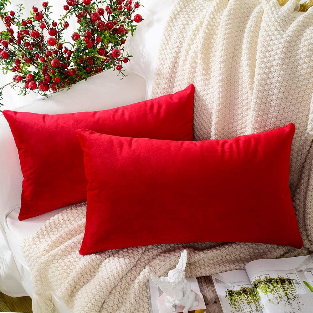 MERNETTE New Year/Christmas Decorations Velvet Soft Decorative Rectangle Throw Pillow Cover Cushion Covers Pillowcase, Home Decor for Party/Xmas 12x20 Inch/30x50 cm, Red, Set of 2