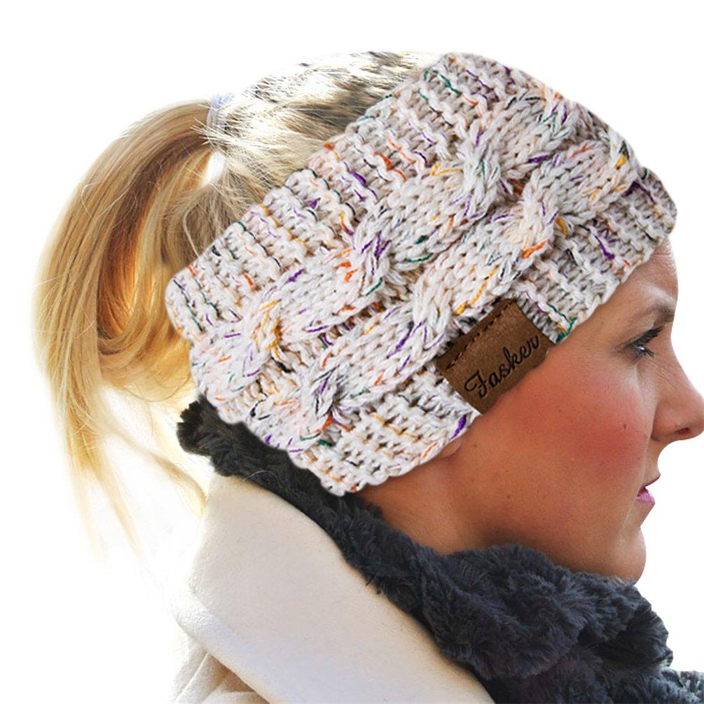 Fasker Womens Knit Confetti Cable Headband Crochet Twist Head Wrap