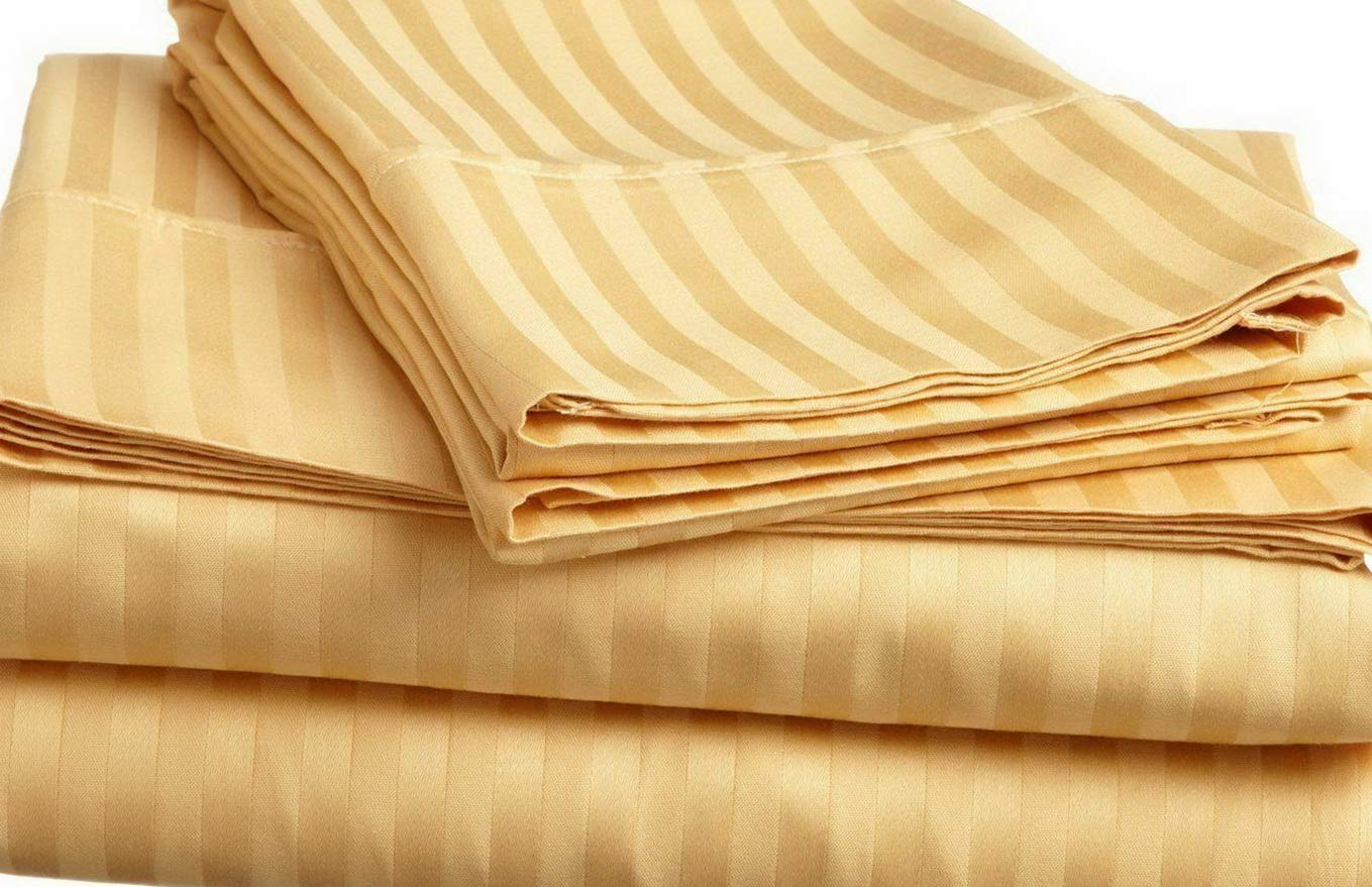 BEIGE STRIPED RV CAMPER /& BUNK SHEET SET ALL SIZES 1000 TC EGYPTIAN COTTON
