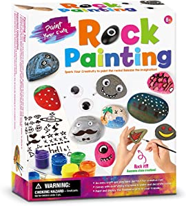 Schuang Rock Painting Kit for Kids(Including a Box of Stones,2 Brushs, 6 Colors) DIY Parent-Child Fun Indoor and Outdoor Activities The Gift of Developing Intellectual Creativity