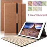 Dingrich Trifold Slim PU Leather Cover with Detachable Magnetic Aluminum Bluetooth Keyboard for iPad Pro 9.7 A1674/A1673 Tablet with Screen Protector and Stylus - Brown