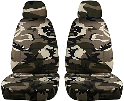 Camouflage Car Seat Covers W 2 Separate Headrest Tan Beige Camo