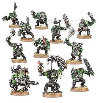 Games Workshop Figuras Guerreros Orkos con 11 Ork Boyz e opciones de Rebanadoraz, Piztola, Akribilladoras, Armas Pezadaz y Granadaz de mano