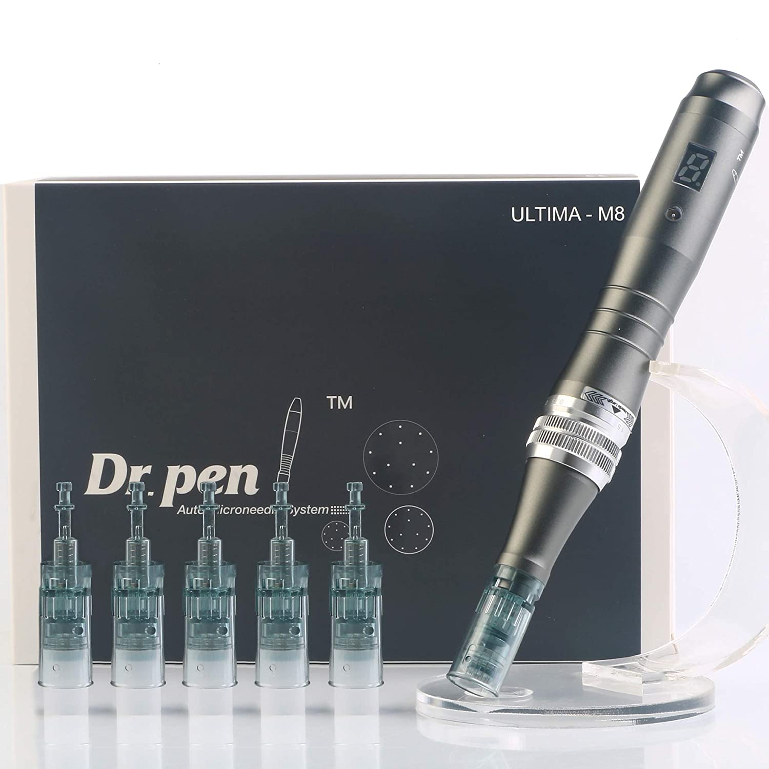 Dr. Pen Ultima M8 Professional Microneedling Pen - Electric Derma Auto Pen - Best Skin Care Tool Kit for Face and Body - 16 pins x2 + 36 pins x3 Cartridges: Beauty