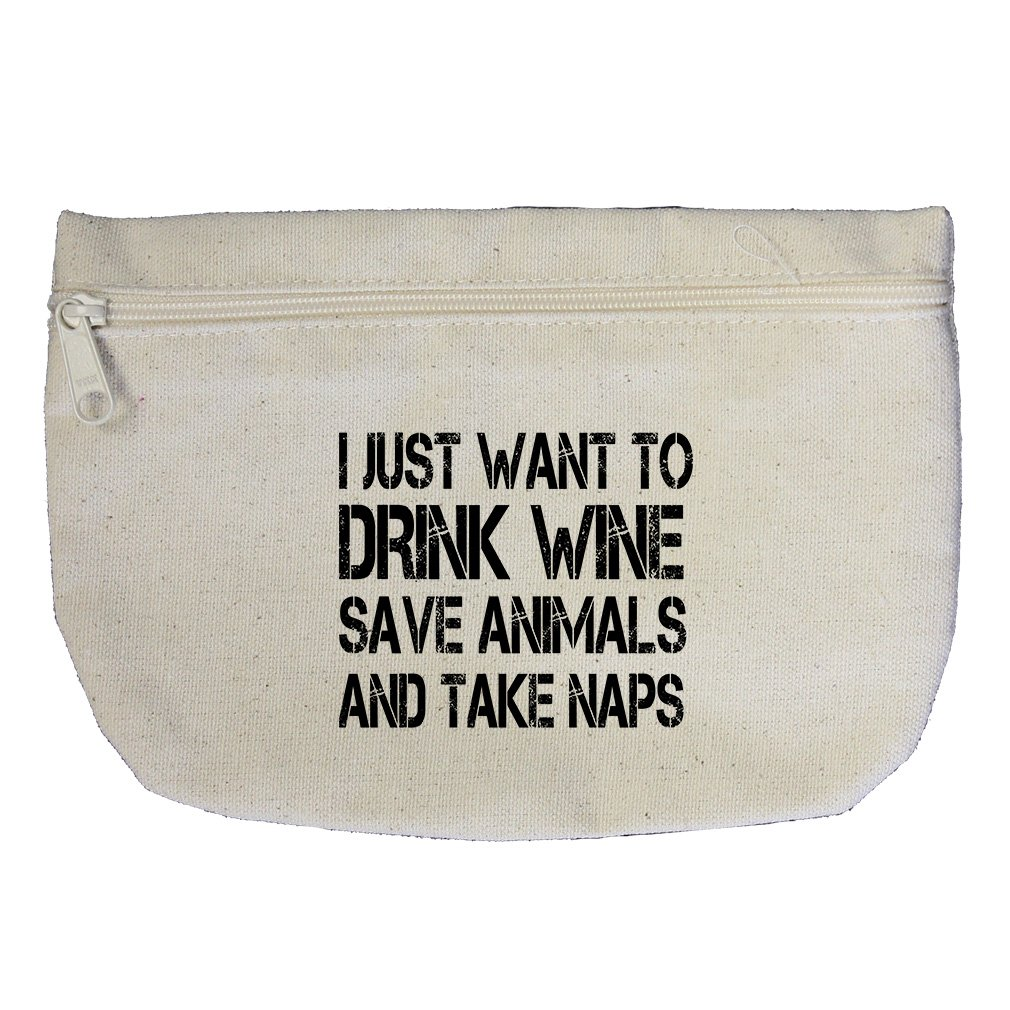 I Just Want Save Animals And Take Naps Canvas Makeup Bag Zippered Pouch
