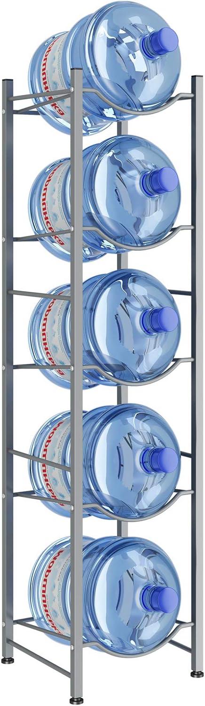 AIYAKA 5Tier Water Cooler Jug Rack,Water Cooler Jug Holder Storage, 5-Gallon Water Bottle Storage Rack Detachable Heavy Duty Water Bottle Cabby Rack for Home, Office Organization(Silver gray)
