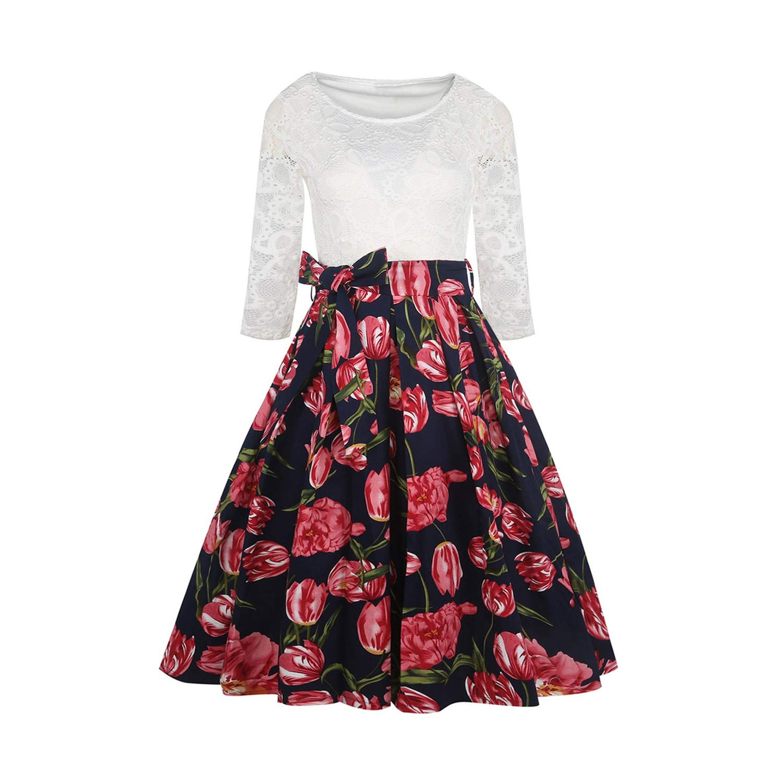 Black Spring Vintage Dress Women Lace Panel Floral Print ALine Dress Belt Party Dresses,