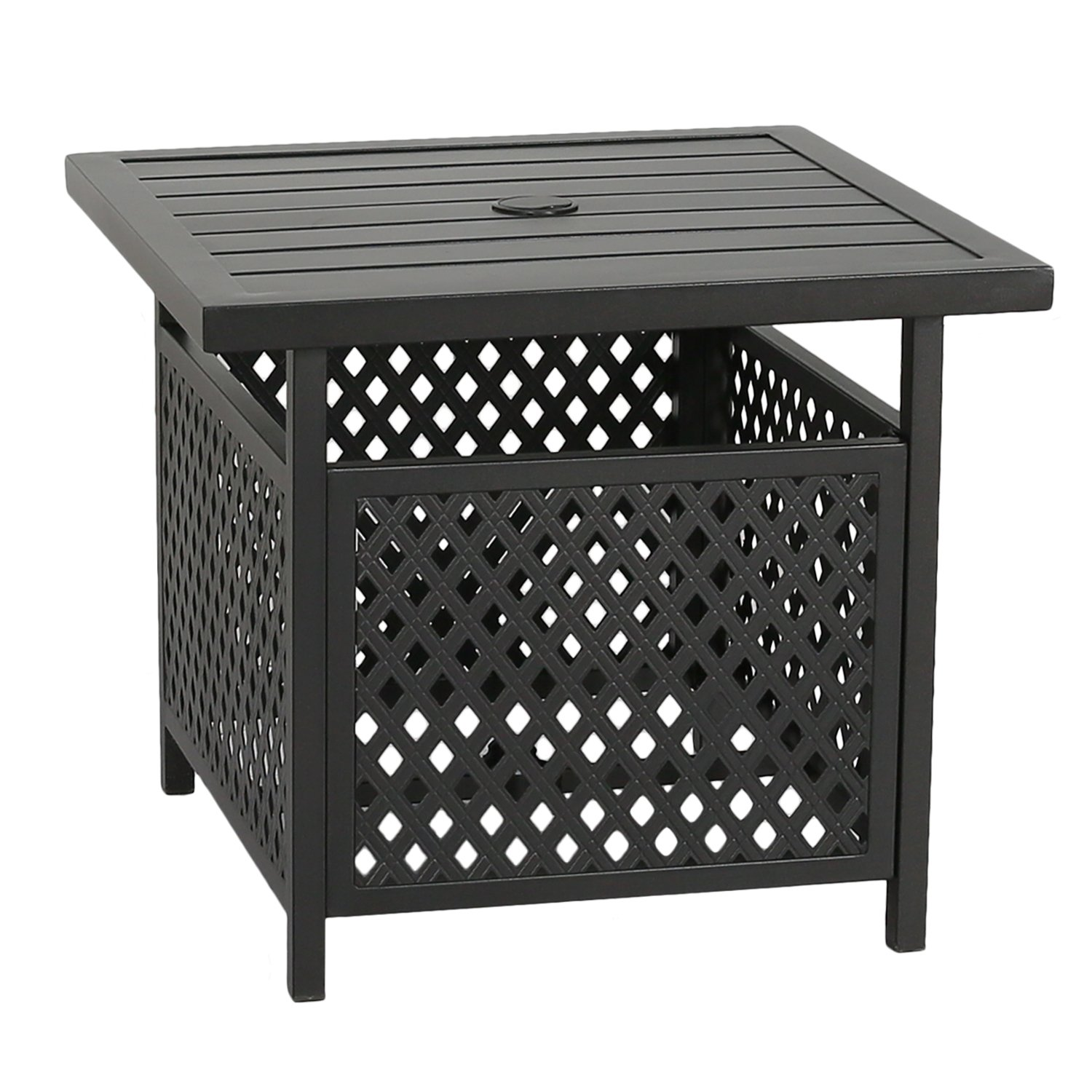 Patio Tree Outdoor Umbrella Side Table Stand Patio Bistro Table with Umbrella Hole by Patio Tree