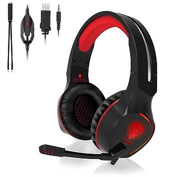 QcoQce Auriculares para Xbox One con micrófono y Iluminación LED, Auriculares de Juego para Ordenador Portátil y PC, Mac y Smartphone Rojo Rosso: Amazon.es: ...