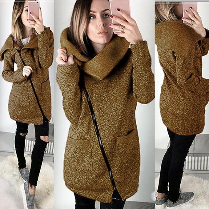 it Donna Amazon Outwear Lungo Solido Moda Ohq Casual Abbigliamento Felpa Giacca Cappotto Cerniera Top 5x7zwPw