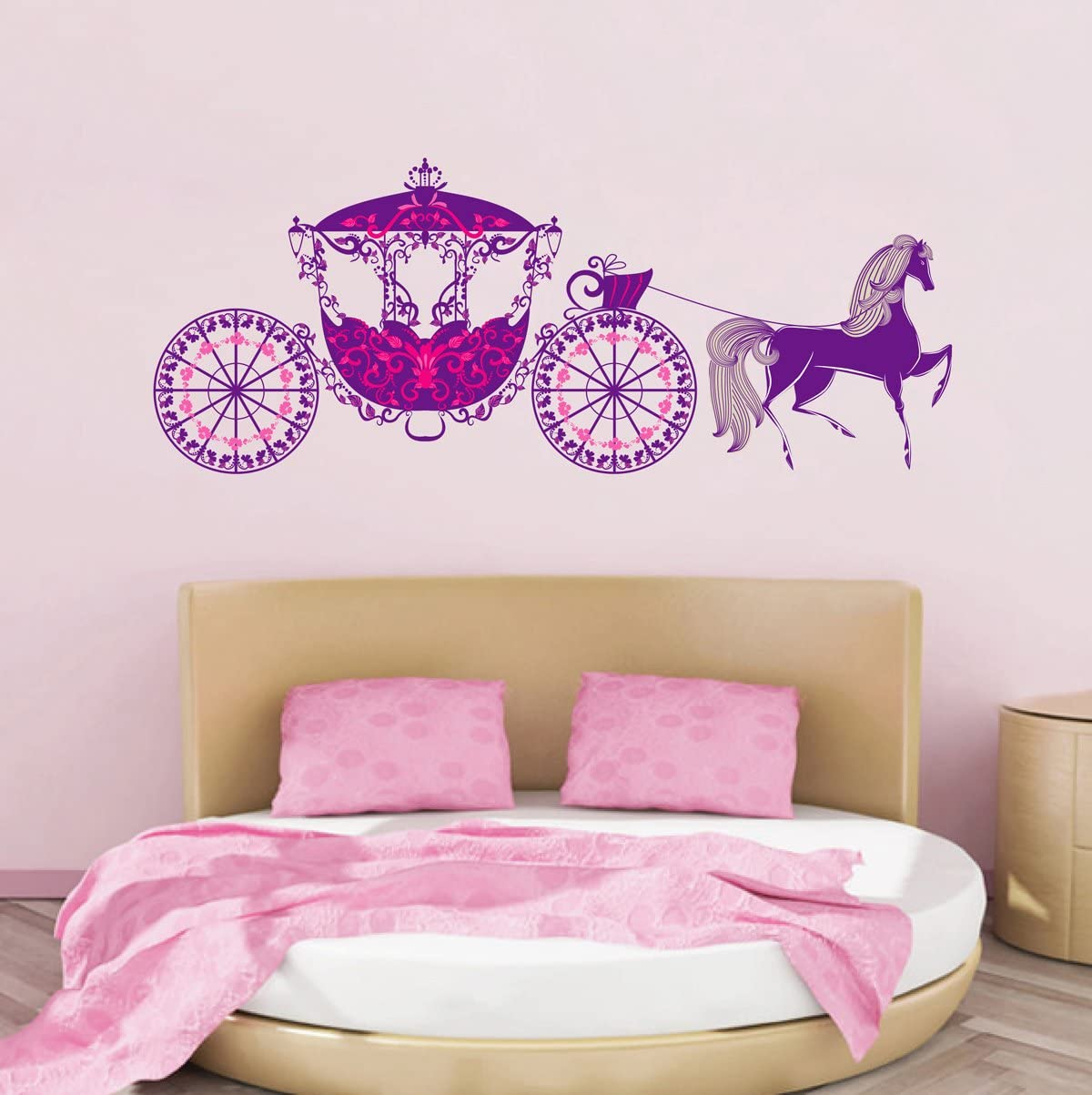 STICKERSFORLIFE cik230 Full Color Wall Decal Carriage Horse Princess Fairy Tale Children's Room