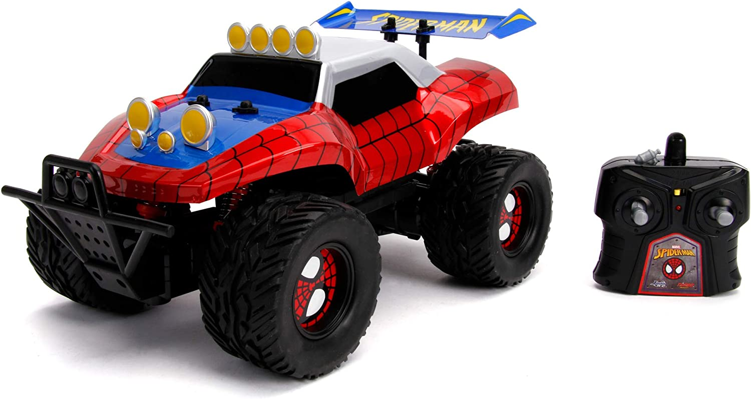 Spiderman- Vehículo Radiocontrol Buggy, Escala 1:14, Recargable por USB (Jada 253228000)