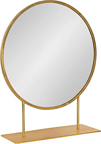 Kate and Laurel Rouen Modern Glam Round Metal Frame Table Mirror