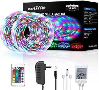 Daybetter 3528 Led Strip Lights Color Changing with 24 Key Remote and Power Supply( 2 Rolls of 16.4ft )
