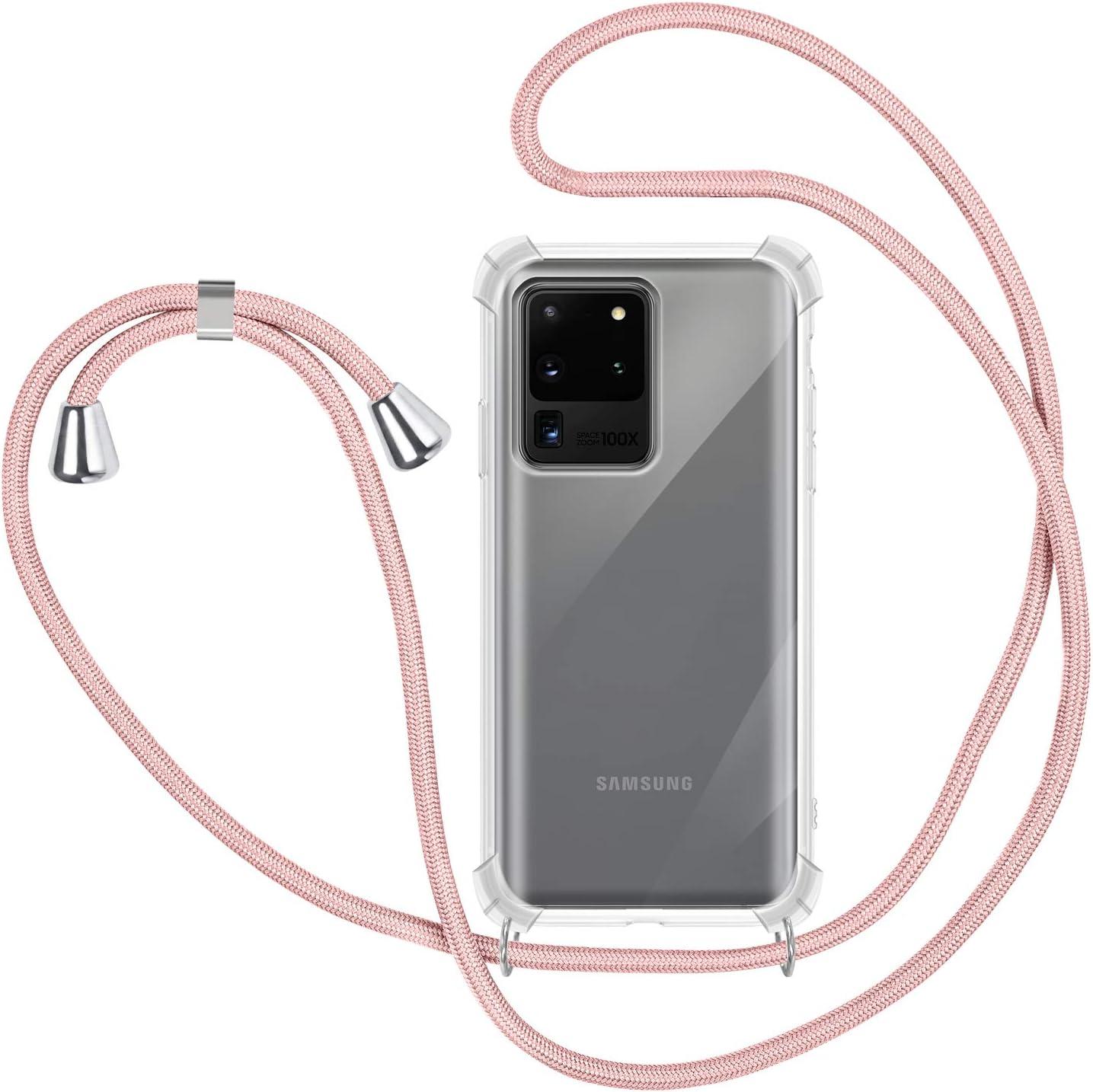 Ququcheng Funda Compatible con Samsung Galaxy S20 Ultra,Ajustable Collar Correa de Cuello Cord/ón Cuerda Carcasa TPU Bumper Silicona Skin Caso para Samsung Galaxy S20 Ultra-Rose Oro