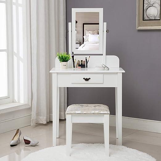 HONBAY - Juego de mesa de maquillaje, taburete acolchado y organizador de maquillaje sorpresa, color blanco: Amazon.es: Juguetes y juegos