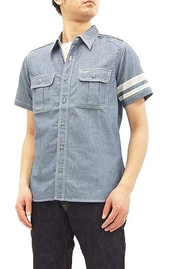 1742086a85 Momotaro Jeans SJ092 Men s Slim Fit Short Sleeve Chambray Work Shirt with  Stripe Indigo Japan 38