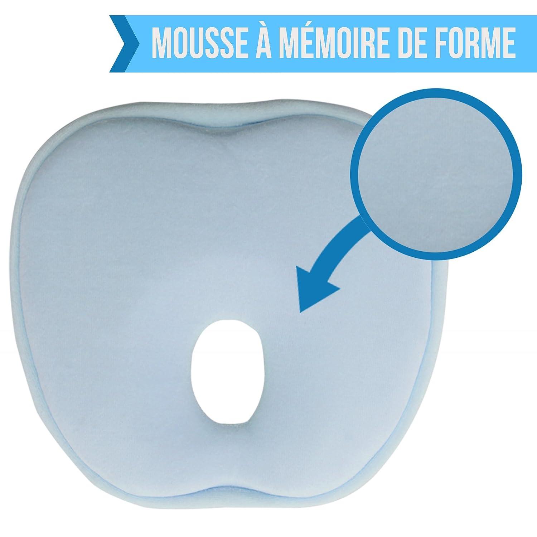 Monsieur Bébé Coussin de maintien anti tête plate à mémoire de forme hypoallergénique - Quatre coloris - Norme CE - Rose EGK