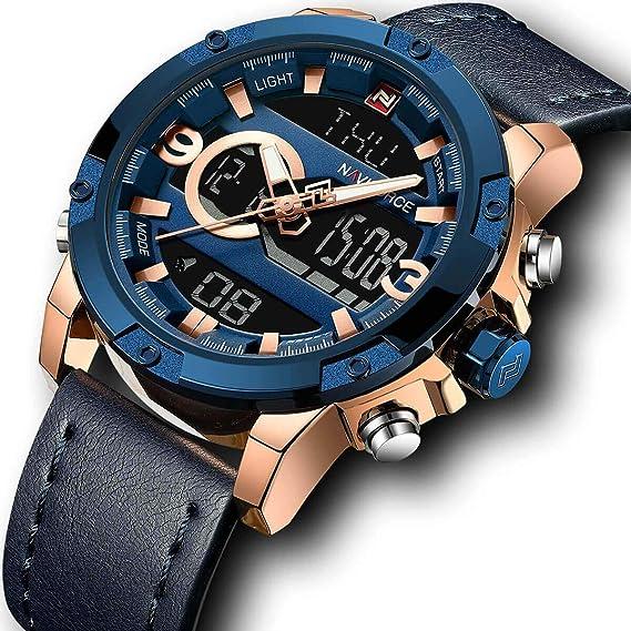 GORBEN - Reloj deportivo de piel para hombre, cronógrafo digital, mecanismo de cuarzo, alarma, reloj para hombres, regalo de Navidad: Amazon.es: Relojes
