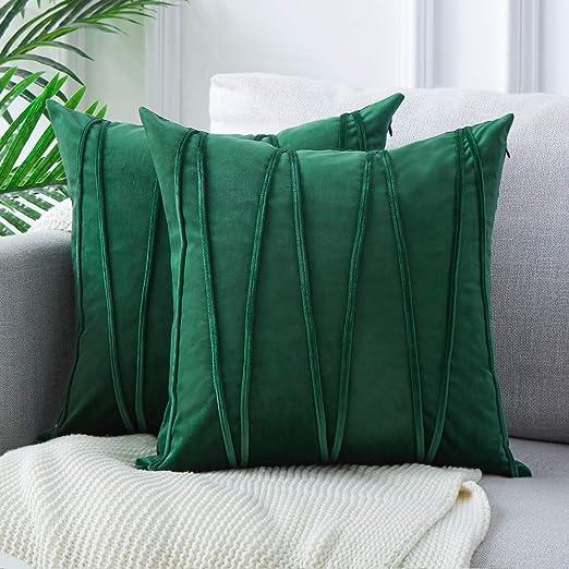 Topfinel 2 Juegos Hogar Cojín Terciopelo Suave Decorativa Almohadas Fundas de Color Sólido para Sala de Estar sofás 45x45cm Verde
