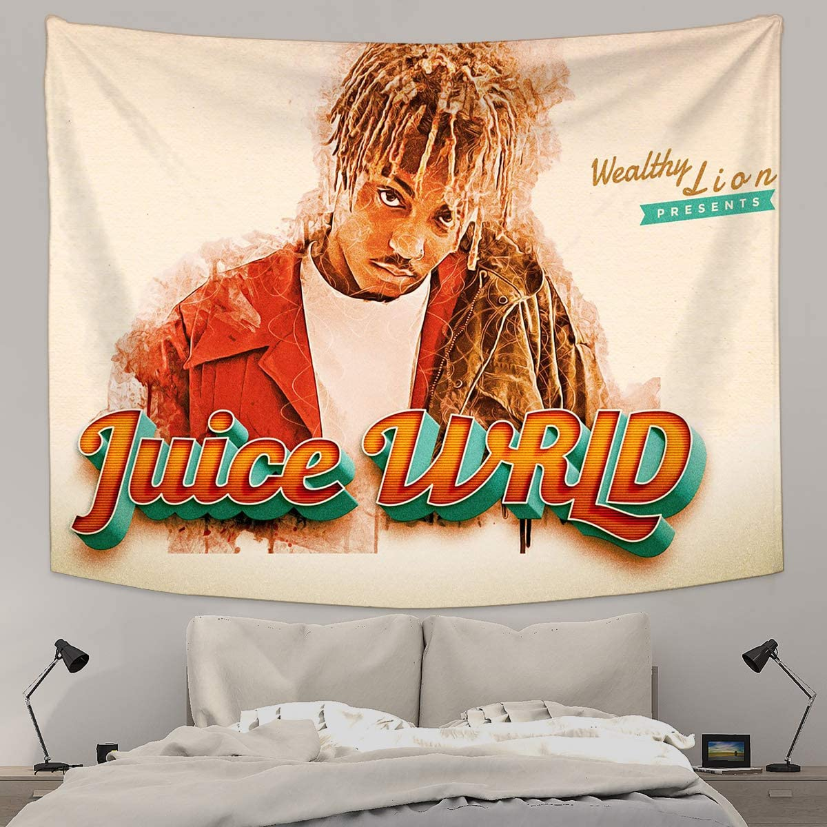 NOT DuoNun Juice Wrld Mural for Wall Hanging Tapestries HD Print Tapestry Blanket Wall Tapestry for Bedroom, Living Room, Dorm, Home Decoration 59.1 x 82.7 Inch