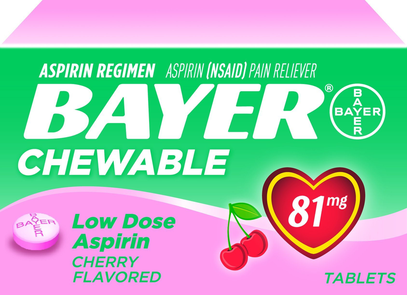 Bayer Chewable Aspirin, Cherry, 36 Count (Pack of 36)