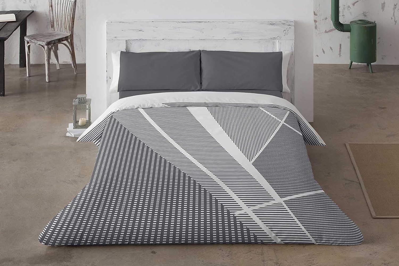 Burrito Blanco Juego de Funda Nórdica 357 con Diseño Juvenil Geométrico en Gris y Blanco para Cama Matrimonio de 150x190 cm hasta 150x200 cm, Gris