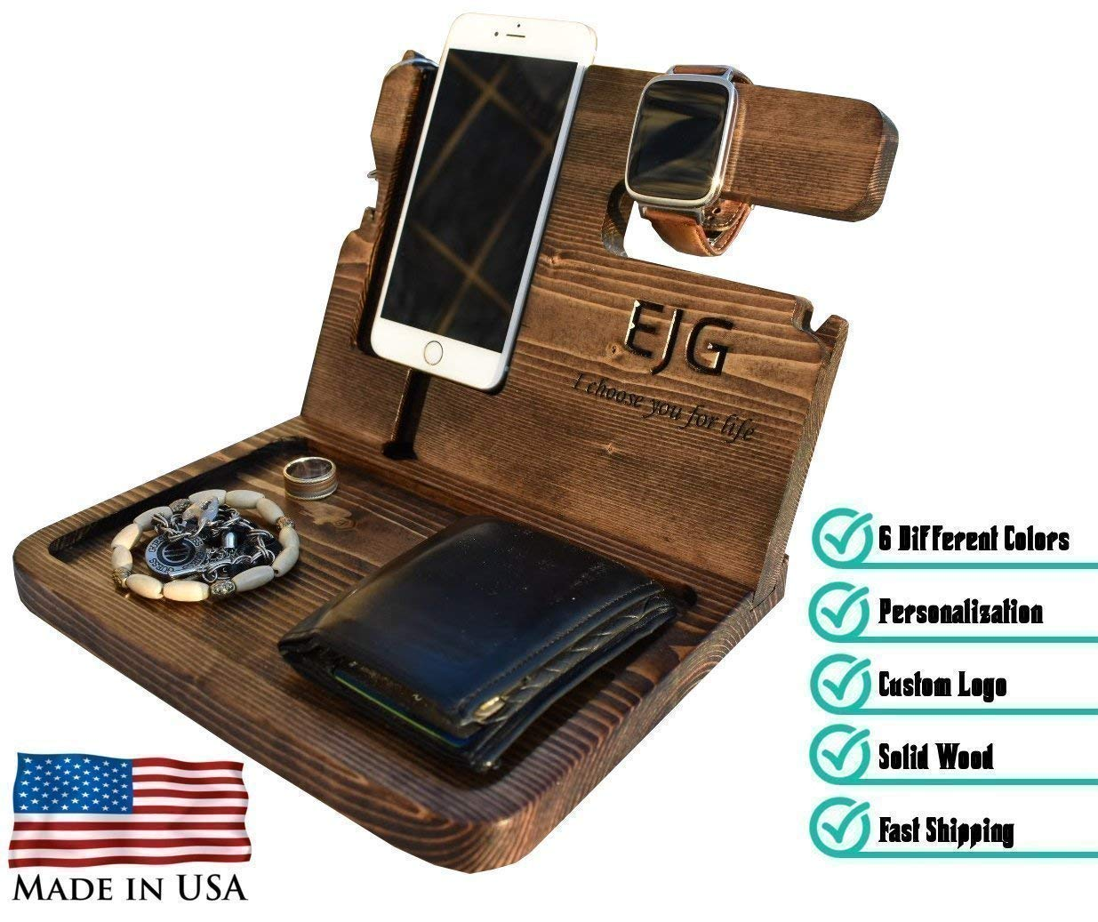 PurpleHammer Wooden Docking Station, Personalized desk organizer, Nightstand Docking Station, Unique holiday gift, Wood docking station, Birthday Gift, Gift for Men, Anniversary Gift, Fathers Day Gift