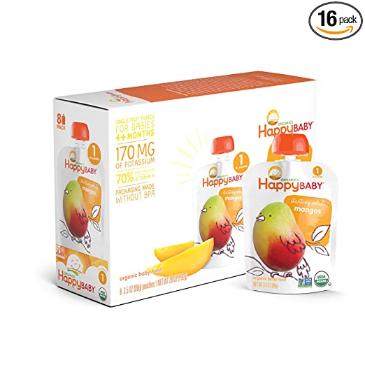 happy baby organic stage 1 baby food starting solids mangos 3 5 ounce pack of 16 amazon com grocery gourmet food