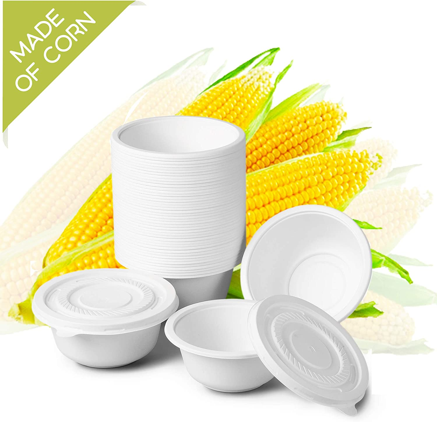 Eco-Friendly Disposable Bowls with Lids – 100 Compostable Recyclable Food Storage Containers Made of Biodegradable Cornstarch - for Party, Restaurant Carry-Out and Meal Prep (10 oz)
