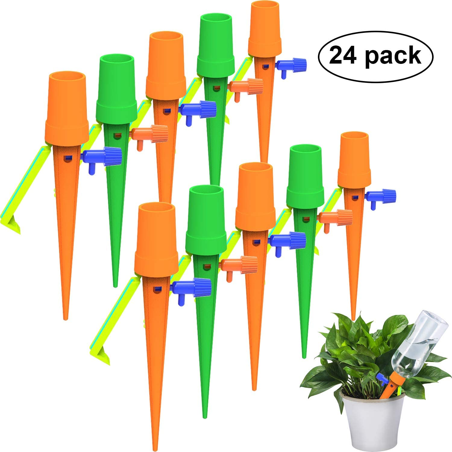 12 Upgrade Design Self Watering Spikes Automatic Watering Devices Adjustable Plant Watering Spikes with Slow Release Control Valve Switch for Indoor Outdoor Plants