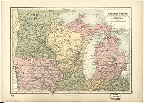 Amazoncom Vintage Map Of Western States Michigan Wisconsin - Vintage iowa map