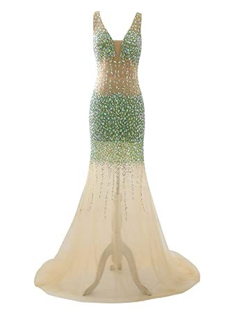 Licheng Bridal Womens Rhinestones Party Dress Tulle Mermaid Prom Dresses GownsChampagne US2