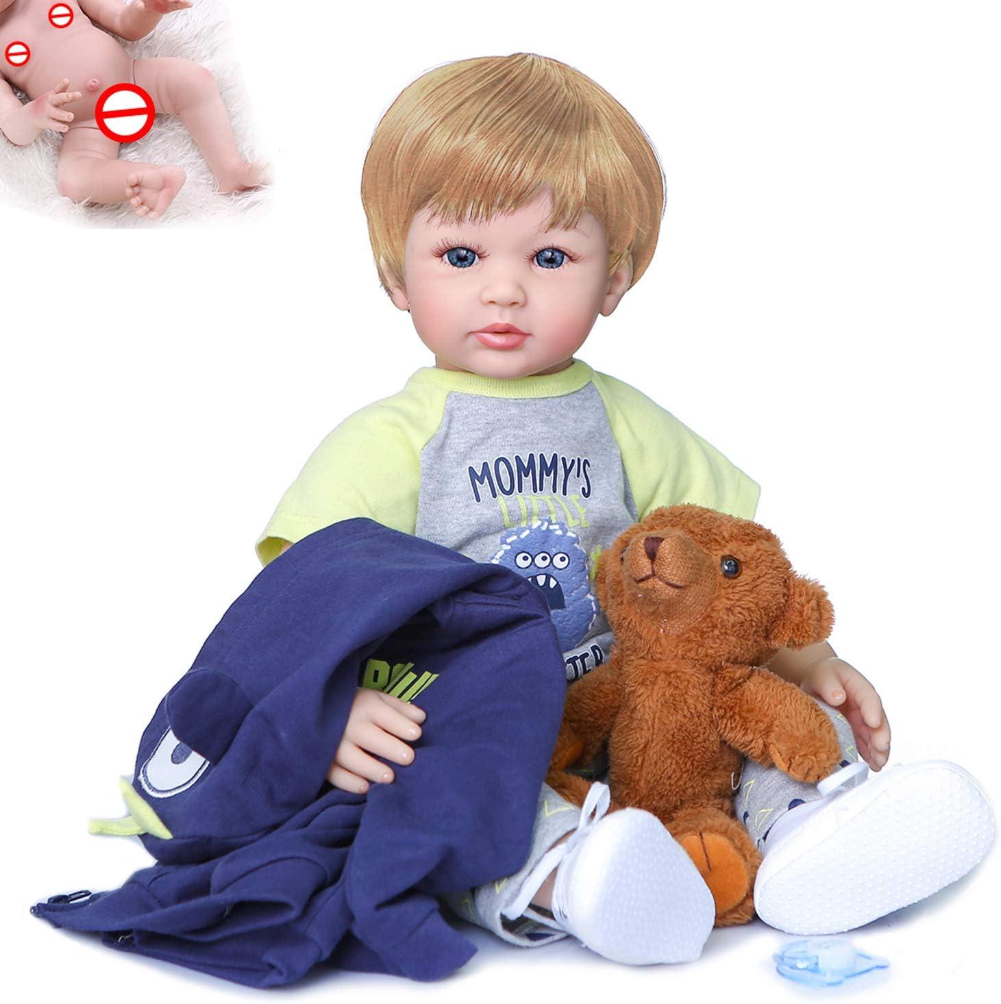 24 ClothBody-BrownHair iCradle Lifelike Reborn Baby Dolls 24 Inch 61cm Soft Cloth Body Realistic Reborn Toddler Real Babies Newborn Doll Kids Xmas Toy Gift