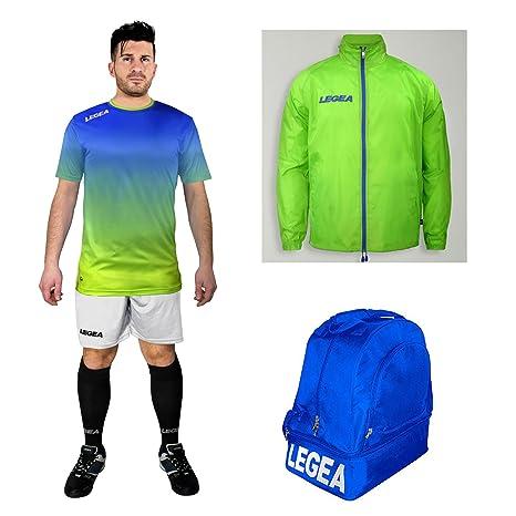 7baca04c8bae LEGEA Kit Calcio Nizza Calza + Borsone E K-Way Calcetto Allenamento  Completino Borsa Impermeabile