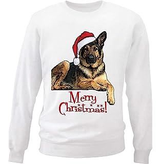 Three German Shepherds Puppies Santa Hats Christmas Womens Sweatshirt Jumper