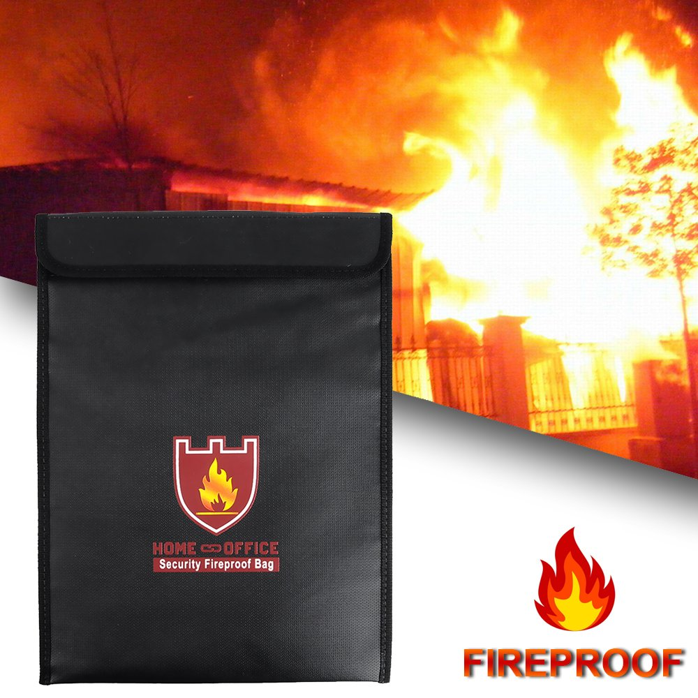 Rou-shot Fireproof Document Bag,Double Layer Fireproof and Waterproof Safe Bags, Perfect for Money, Documents, Jewelry and Passport Safes (15'' x 11'') by Rou-shot (Image #6)