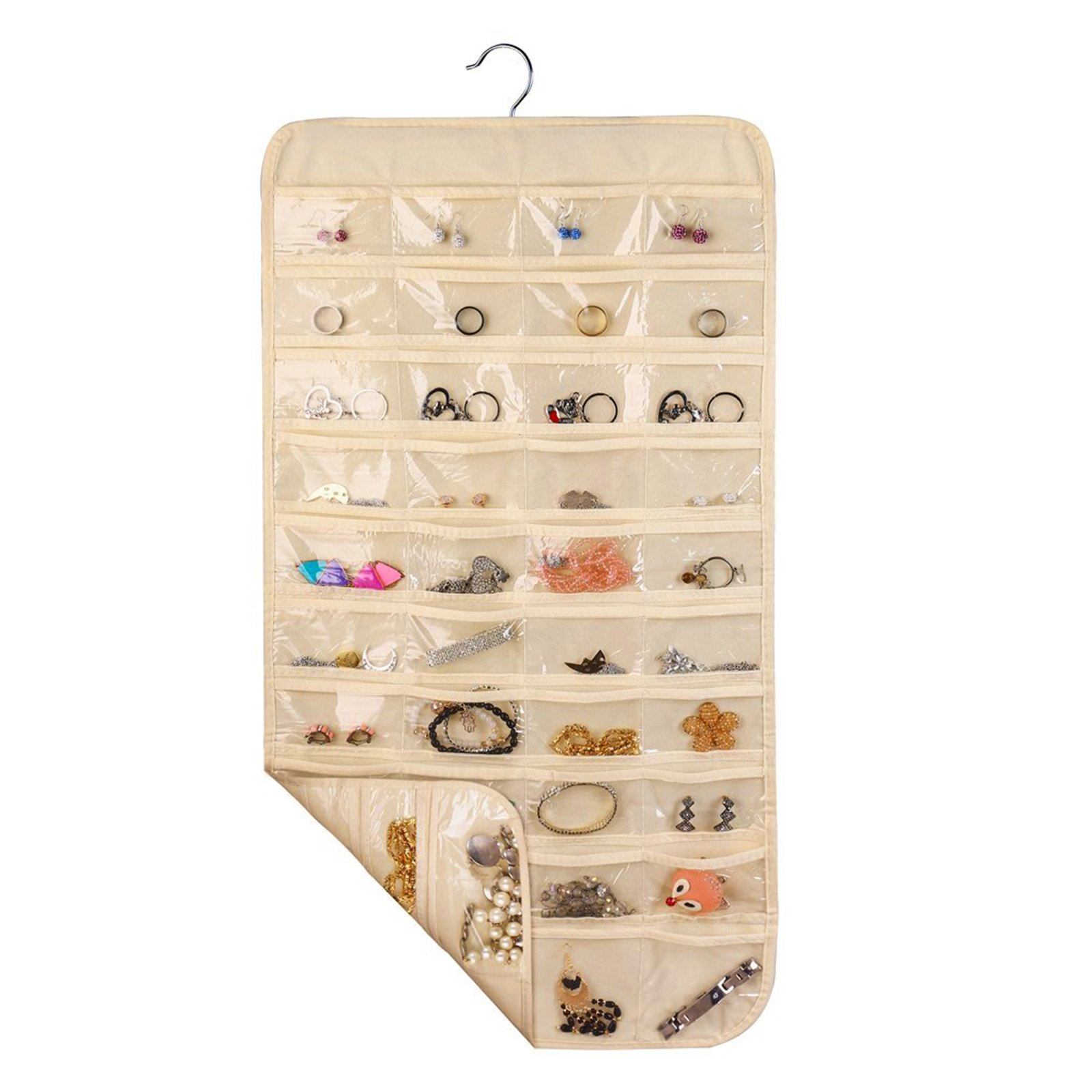 LinkStyle Hanging Jewelry Organizer Closet Wall Jewelry Holder with 80 Pockets, 2 Sides