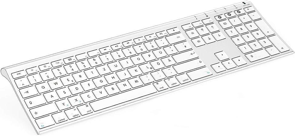 Jelly Comb Teclado inalámbrico Bluetooth recargable de tamaño completo con 3 canales Bluetooth para MacBook, iMac, iPad, Mac OS, QWERTZ disposición ...
