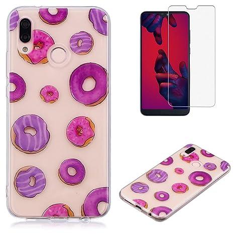 aspetto dettagliato 5ad38 dccdc Cover per Huawei P20 Lite Silicone Custodia e Pellicola Protettiva,OYIME  Trasparente con Disegni Donuts Colorato Chiaro Morbida Sottile Originale ...