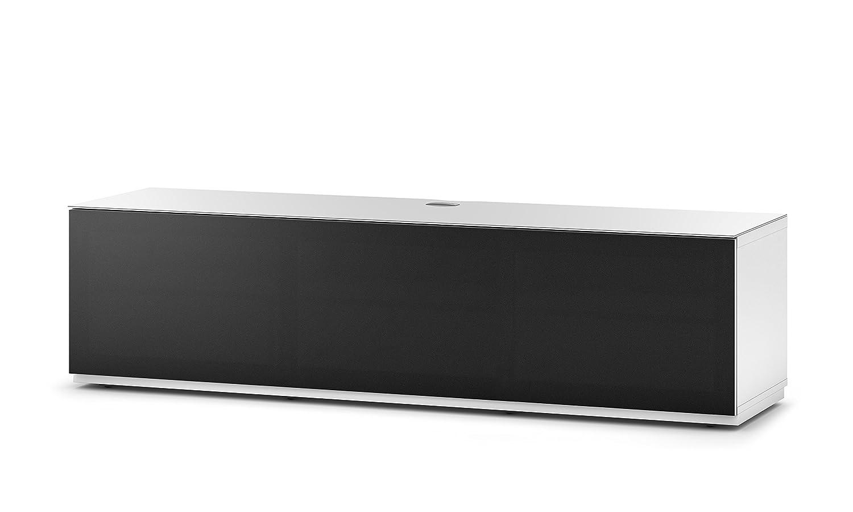 Sonorous STA 160T-WHT-BLK-BW hängende TV-Lowboard mit Sockel, weißer Korpus, obere Fläche, gehärtetem Weißglas und Klapptür mit schwarzem Akustikstoff