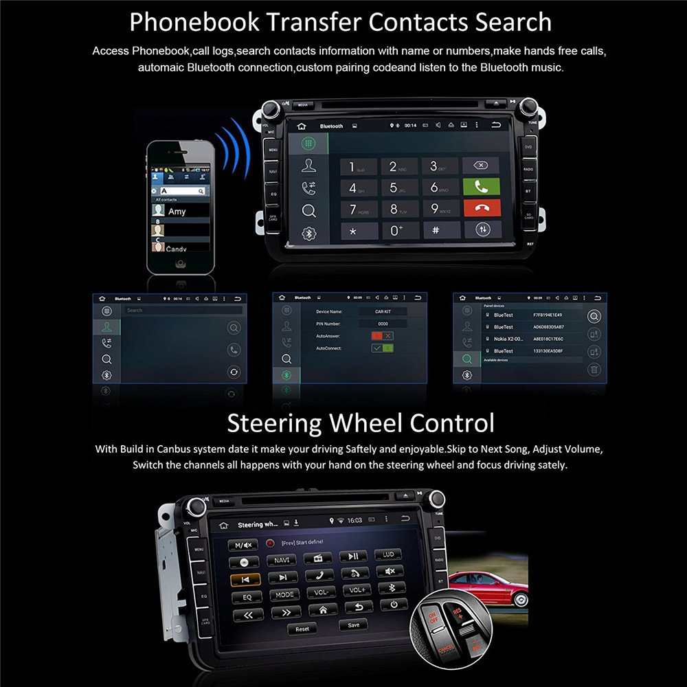 Car Stereo Touch Screen Bluetooth GPS DVD Double Din In Dash Sat Navigation Vehicle Head Unit for VW Volkswagen Jetta Golf Passat Tiguan T5 VW Skoda Seat Hands Free Call Free Map Backup Camera by Saiyeeka (Image #5)