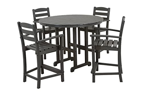 POLYWOOD PWS143-1-GY La Casa Caf 5-Piece Counter Set with Table and Chair, Slate Grey
