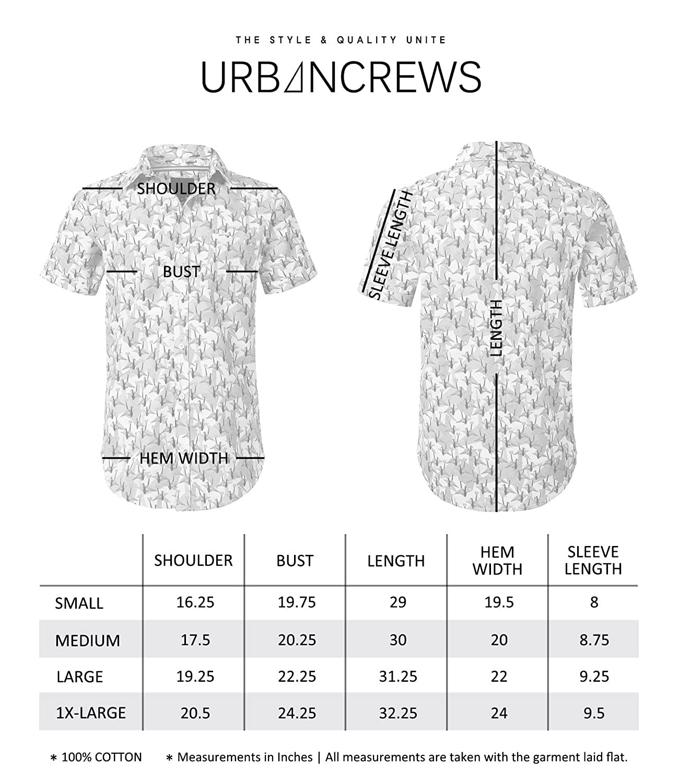 URBANCREWS Mens Hipster Hip Hop Graphic Short Sleeve Woven Button Down Shirts